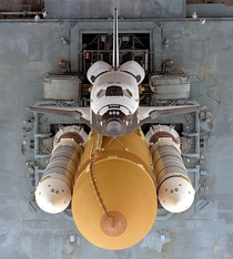 Overhead view of Space Shuttle Atlantis on the Mobile Launcher Platform as it traveled to Launch Pad A from the Vehicle Assembly Building Atlantis lifted off on Mission STS- on September