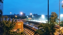 Overlooking a rail yard in Riverdale The Bronx NY