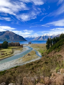 Overlooking Lake Wakatipu from Mount Nicholas Farm outside Queenstown NZ