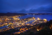 Overlooking the city of Bergen Norway during the blue hour