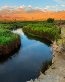 Owens river near Bishop California is what come to my mind when I hear the phrase meandering river