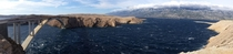 Pag Bridge enduring the strong Burja wind - Pag Croatia