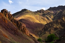 Painted Hills and a Boulder-Mounted Monastery in Ladakh region India