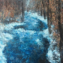 Painted this wintery creek with a palette knife