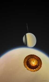 Painting of Huygens descending on Titan