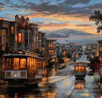 Painting of San Francisco by Evgeny Lushpin