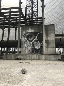 Painting painted by Guido van Helton in Cooling tower in Chernobyl