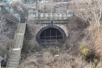 Palas Constanta st urban rail tunnel built in Romania in  now abandoned Its over  m long   km of sunken rail Thanks to it the cargo trains that went in the harbor would not disturb the city guilt by eng Anghel Saligny