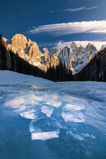 Pale di San Martino in a freezing winter morning Italy