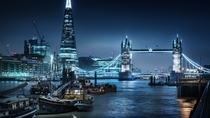 Pale night lights of the city River Thames London United Kingdom