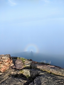 Pallisade Head circular rainbow over Lake Superior Silver Bay MN