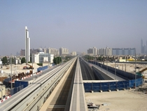 Palm Island Monorail track and tunnel entrance Dubai