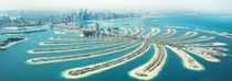 Palm Jumeirah Dubai United Arab Emirates - an artificial archipeligo set into the Persian Gulf - so-called after the nearby tiny Jumeirah Islands set in a little niche in the coast in conjuction with the resemblance of the shape of it to that of a palm tr
