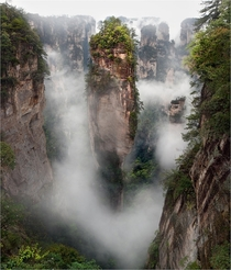 Pandora II - Zhangjiajie National Forest Park China This area was one of the inspirations for the floating mountains of the movie Avatar  photo by Yury Pustovoy