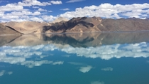 Pangong Tso brackish salt water lake divided between India and China