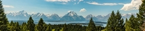 Pano of the Teton Range and Jackson Lake from Signal Mountain