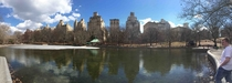 Panorama from in front of pond in Central Park Taken early this spring