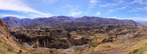 Panorama of ancient terraces in Colca Valley Peru