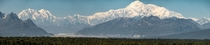Panorama of Denali and Mt Foraker Alaska USA August  On my last day in Alaska I happened to check the aviation cloud forecasts and saw reports of clear skies Drove  hrs round trip just to see and photograph this majestic mountain