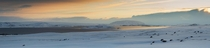 Panorama of ingvallavatn in winter Iceland