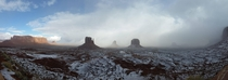 Panorama of Monument Valley after a snowstorm