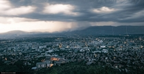 Panorama of Skopje as a storm gathers Taken from Mount Vodno