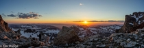 Panorama of Sunset from the Lower Saddle in Grand Teton National Park Wyoming USA  OC