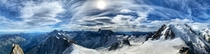 Panorama taken from Aiguille de Midi showing the Chamonix Valley France on the left Switzerland in the centre and the Italian Alps and Mont Blanc on the right am  August   x