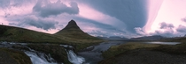 Panoramic of Kirkjufell in Iceland on a stormy morning OC