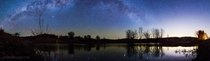 Panoramic of the Milky Way over a reflective lake in Queensland Australia