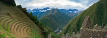 Panoramic of Winay Wayna Andes Mountain Peru OC