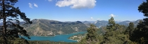 Panoramic view of a lake near Castallane Southern France