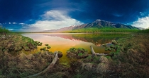 Panoramic view of Maloe Soloncovoe Lake in Russia Photo by Dmitry Moiseenko