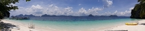 Panoramic View of the Beach in Entalula Island El Nido Palawan Philippines
