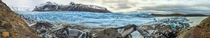 Panoramic view of the Svinafellsjokul glacier in southern Iceland