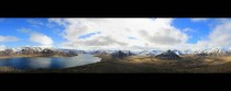Panoramic view over the village of ingeyri Iceland