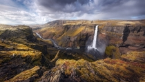 Panoramic views Haifoss Iceland