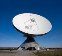 Parabolic satellite communication antenna in Raisting Germany - one of largest in the world