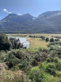 Paradise valley Glenorchy NZ with the Shotover river to the left OC x