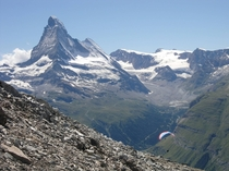 Paragliding in Zermatt Switzerland with a view of Matterhorn Mountain