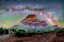 Paria Utah Pano right after a lightening storm Spectacular airglow and intense wet ground