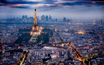 Paris as night falls