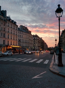 Paris at dusk Near the Pantheon