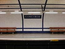 Paris Metro Line  Concorde Station Lettered tiles adorn the walls spelling out the  Declaration of the Rights of Man and of the Citizen