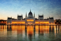 Parliament building in Budapest at dusk