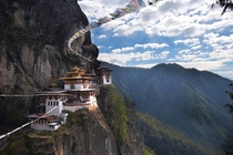 Paro Taktsang the Tigers Nest  feet above the Paro valley in Bhutan
