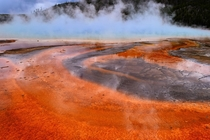 Part of grand prismatic spring Yellowstone national Park on a cloudy day