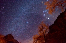 Part of the Winter Triangle over Zion National Park Betelgeuse Sirius Orions Belt