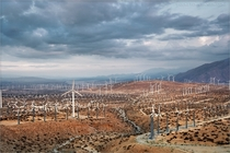 Partial view of the San Gorgonio Pass Wind Farm close to Palm Springs CA