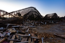 Partially demolished wooden roller coaster abandoned for  years at the time of this photo chrisluckhardt